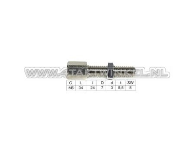 Cable adjuster, m6 thread, with slot