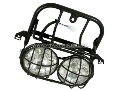 Headlight complete, double with grille, universal