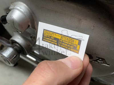 Sticker Novio, Amigo, PC50, engine warning, aftermarket